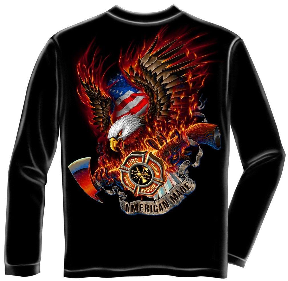 Erazor Bits Long Sleeve T-Shirt - Fire Fighter - Fire Fighter Fire Eagle -  Blac