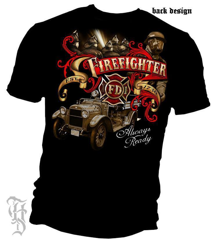 Erazor Bits T-Shirt - Elite Breed - Antique Fire Fighter - Black