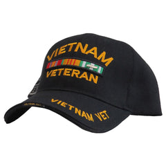 US Honor 3D Embroidered Veteran Vietnam Double/Image Bar Baseball Caps Hats