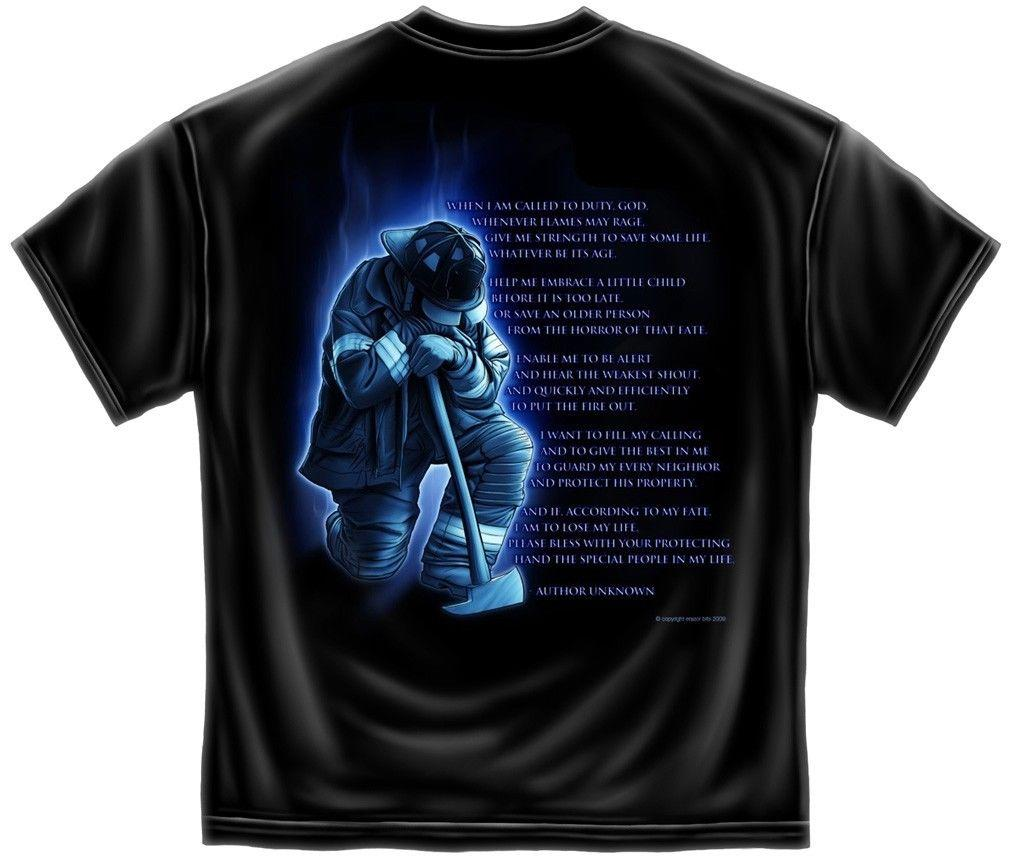 Erazor Bits T-Shirt - Fire Fighter - Fireman's Prayer -  Black