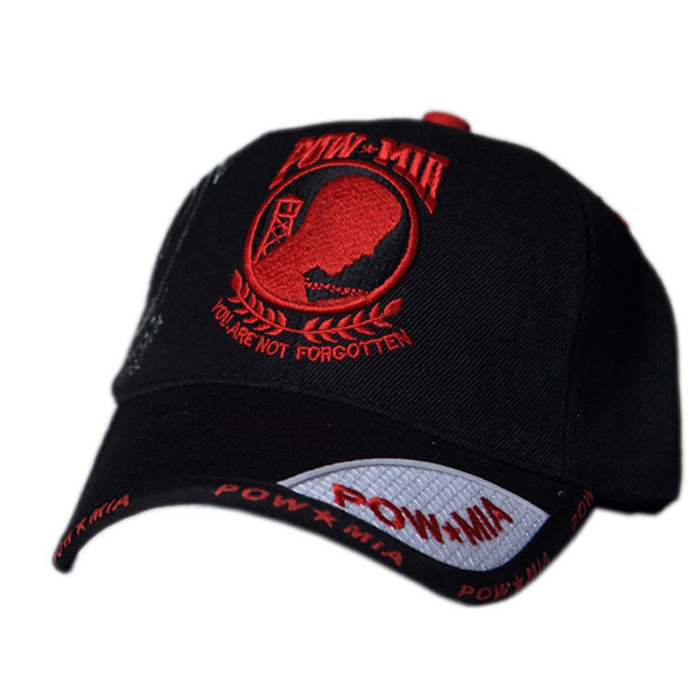 US Honor Embroidered Shadow POW/MIA Red Logo Baseball Caps Hats