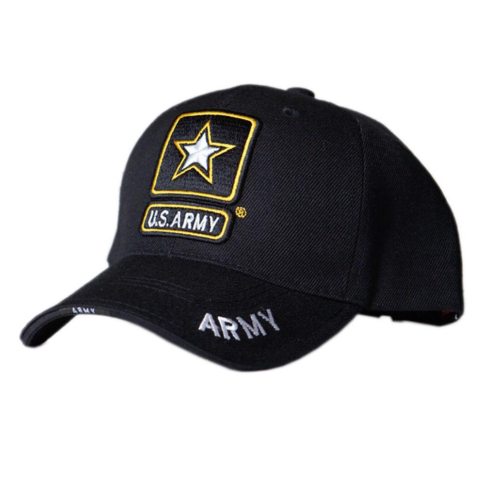 9ff5382bfc6 US Honor Official HD Army Star Logo Black Embroidered Baseball Caps Hats