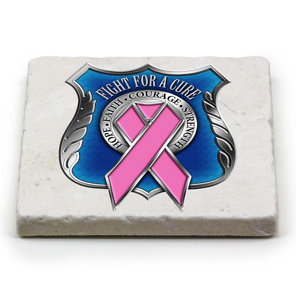 Police Shield Breast Cancer Awareness Pink Ribbon Marble Stone Coasters sets