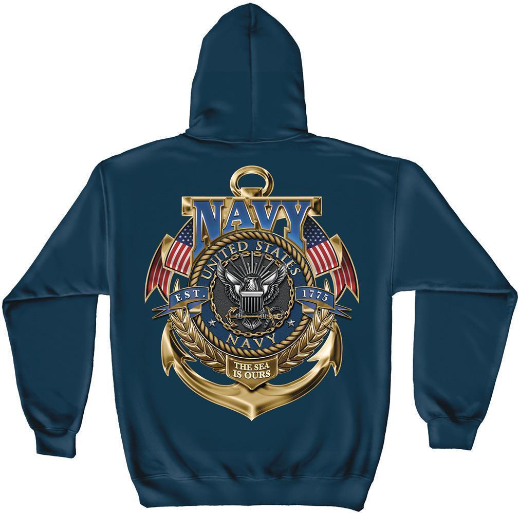Erazor Bits Sweatshirt Hoodie - United States Navy - Sea Is Ours - 1775 - Navy