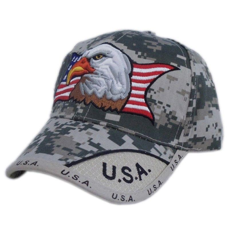US HONOR Digital Pixel Camo USA American Flag Eagle Patriotic Hats Caps