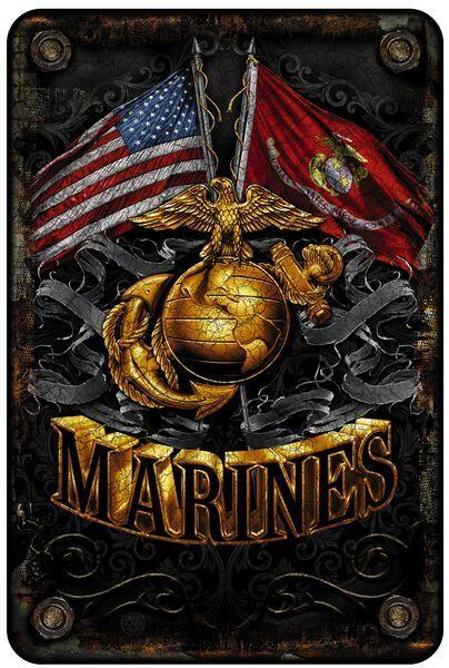 Erazor Bits USMC Double Flag Gold Globe Marines Aluminum Metal Parking Sign - 8""