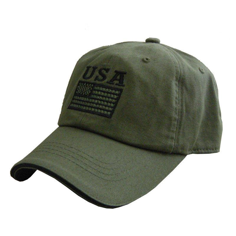 US Honor American USA Flag Patriotic Embroidered Dad Hats Caps - Green