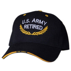 US Honor Official Embroidered U.S. Army Retired Black Baseball Caps Hats