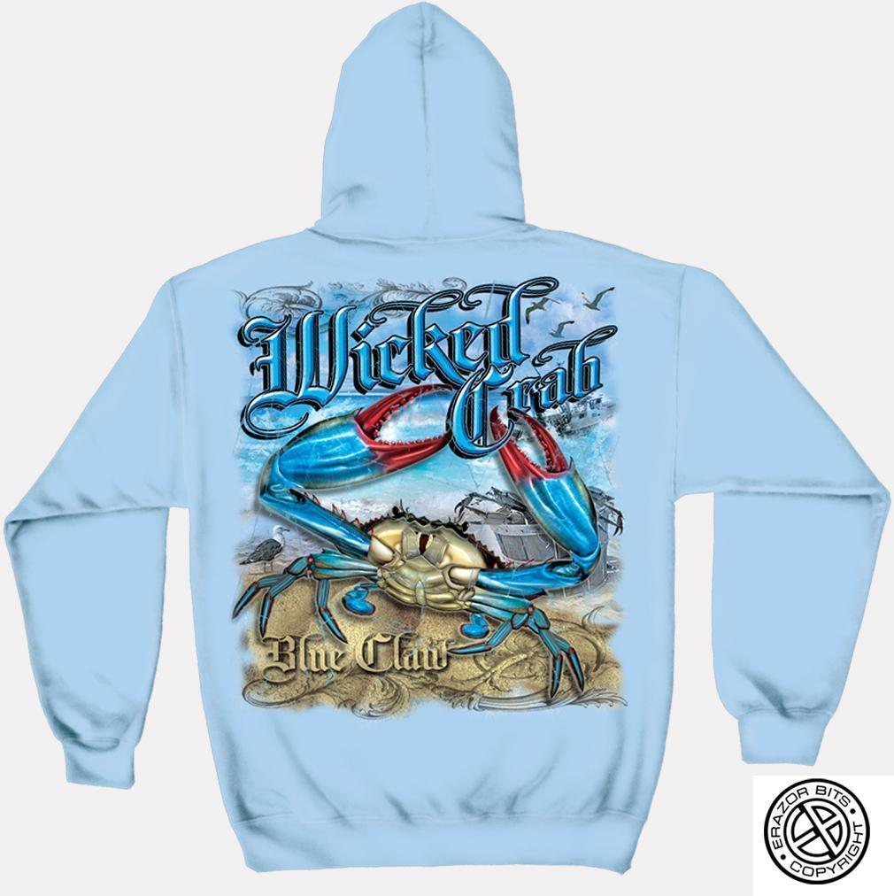 Erazor Bits Sweatshirt Hoodie- Wicked Fish - Wicked Crab - Light Blue