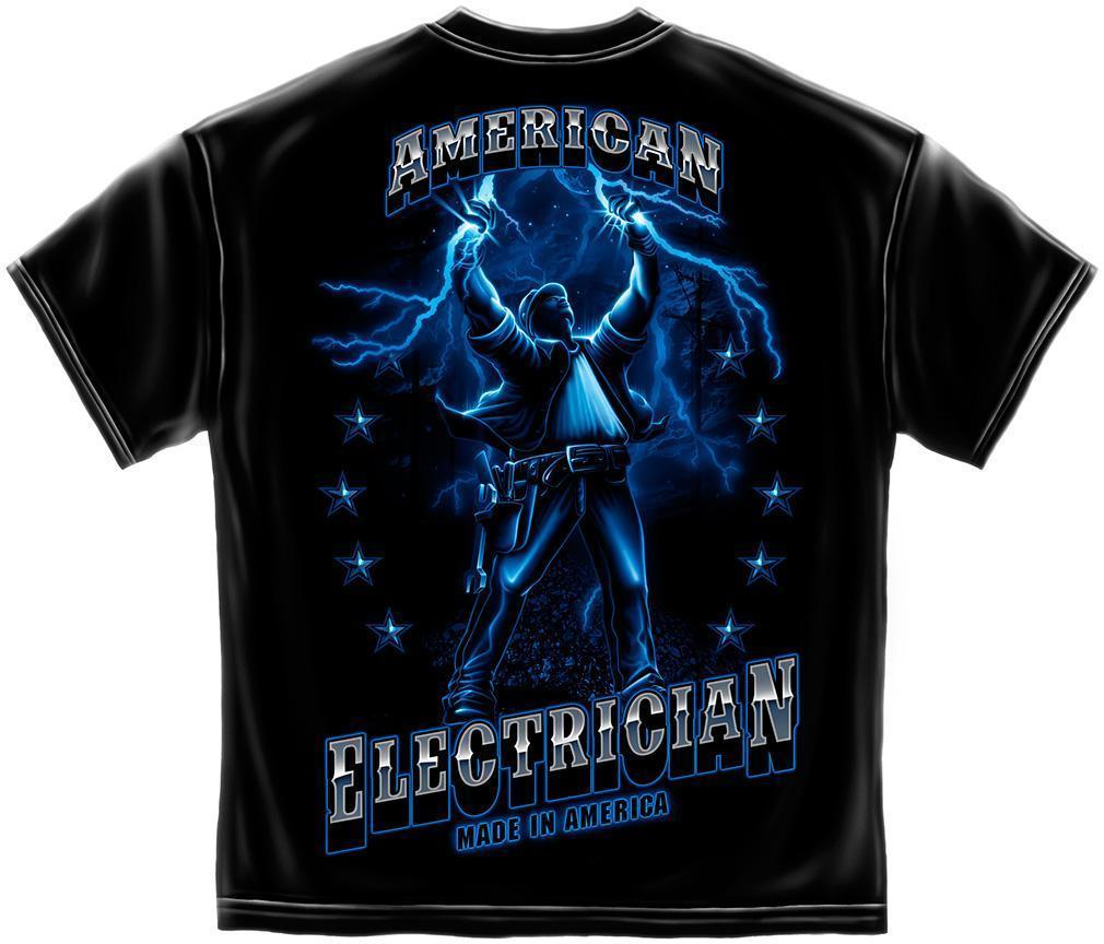 Erazor Bits T-Shirt - American Electrician - Made in America - Black
