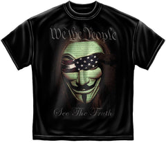 Guy Fawkes Anonymous Mask We the People See the Truth Black T-Shirt Tee Unisex