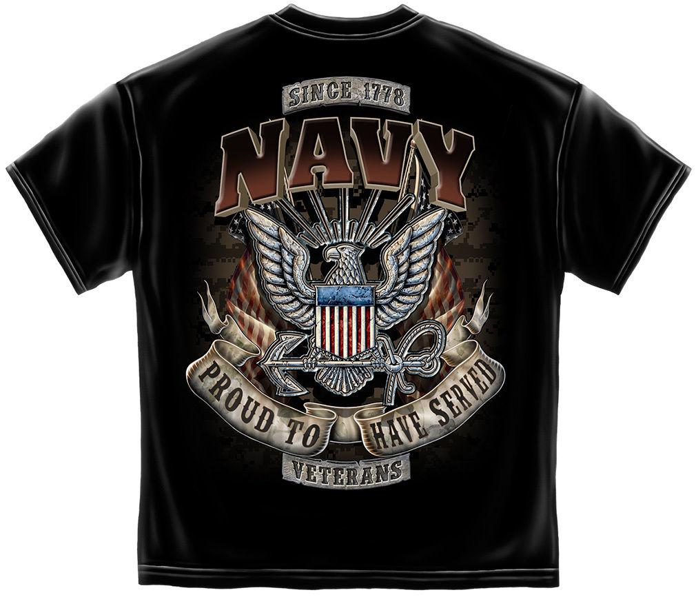 Erazor Bits Navy Proud to Have Served Veteran T-Shirts Tees