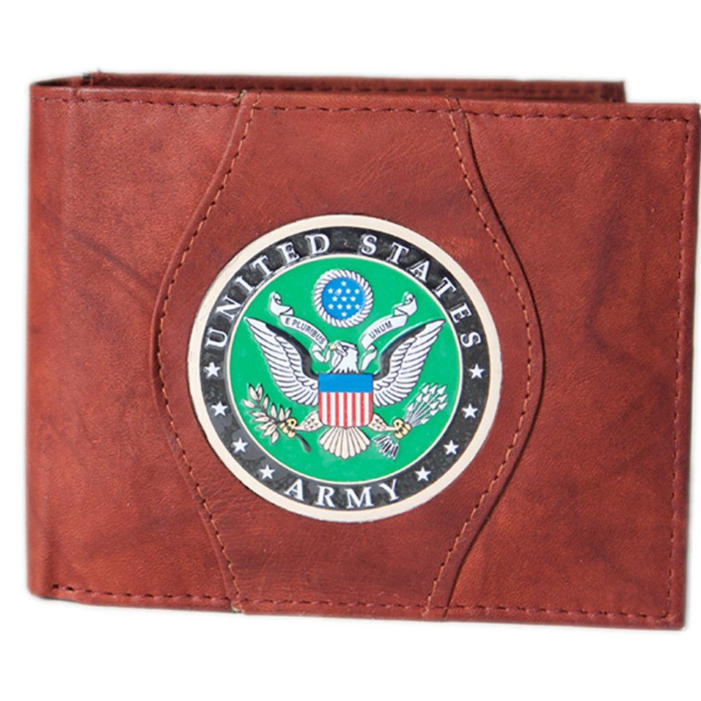 US Army Navy Air Force Coast Guard Logo Bi-Fold Men's Leather Wallet w/ Gift Box