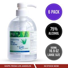 [6 Pack] Hand Sanitizer Gel 75% Alcohol with Aloe Vera Large Bottle 16.9oz/500ml