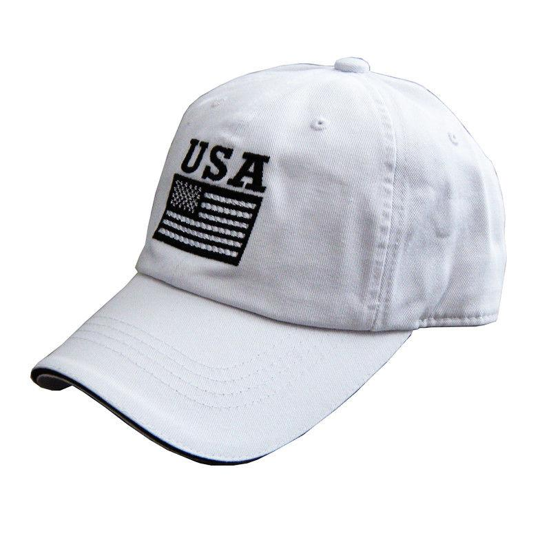 US Honor American USA Flag Embroidered Patriotic Caps Hats - White