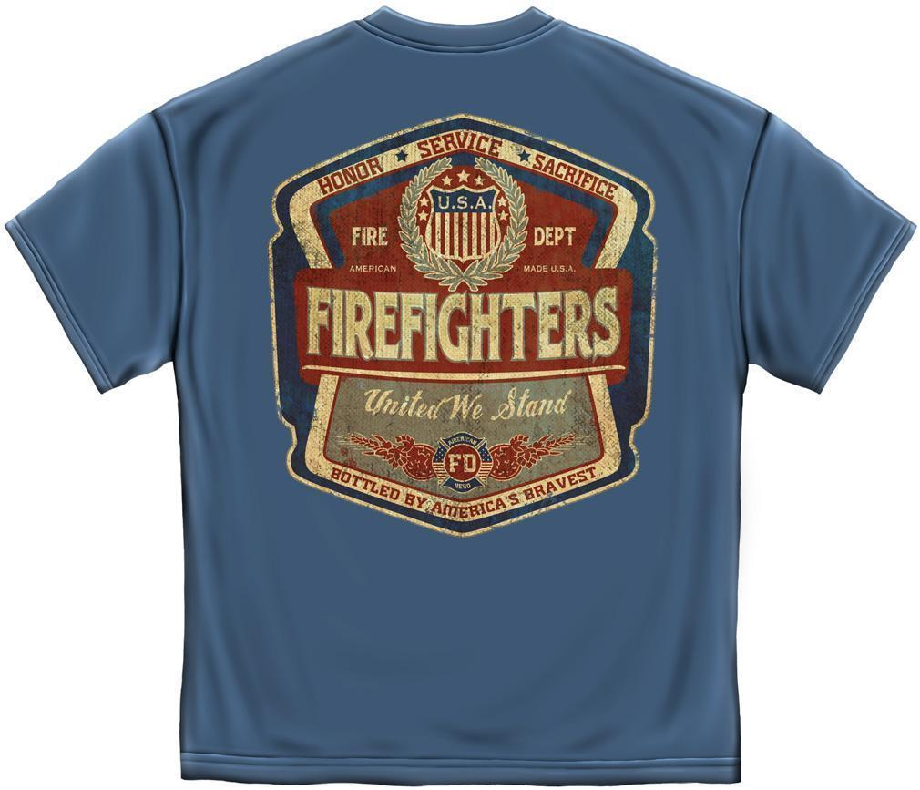 Erazor Bits T-Shirt - Fire Fighter -United We Stand FireFighter - Denim Fade - B