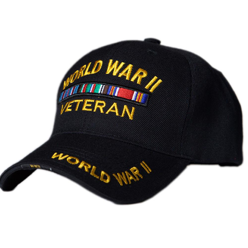 US Honor 3D Embroidered Veteran World War II Baseball Caps Hats