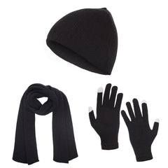 Casaba Winter 3 Piece Set Knit Beanie Hat Scarf Touchscreen Gloves for Men Women