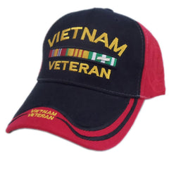 US Honor Embroidered Double Vietnam Veteran Bar Red Black Baseball Caps Hats