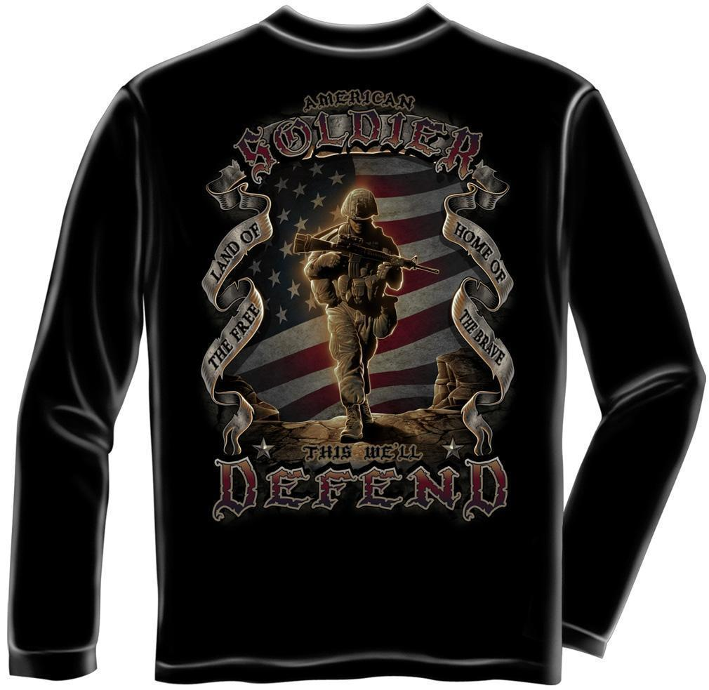 Erazor Bits Long Sleeve T-Shirt American Solider This We'll Defend- US Flag - Bl