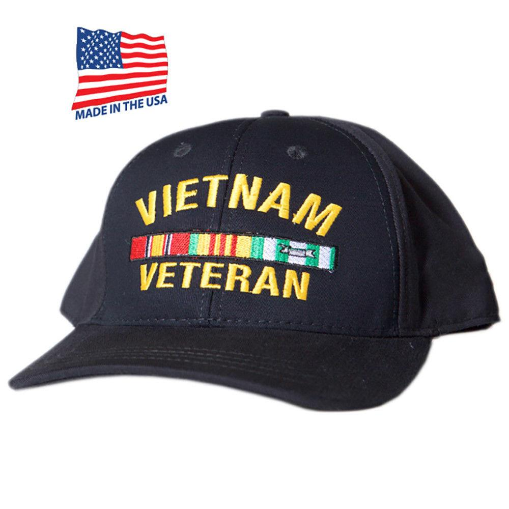 US Honor Made in USA Embroidered Vietnam Veteran Bar Baseball Caps Hats