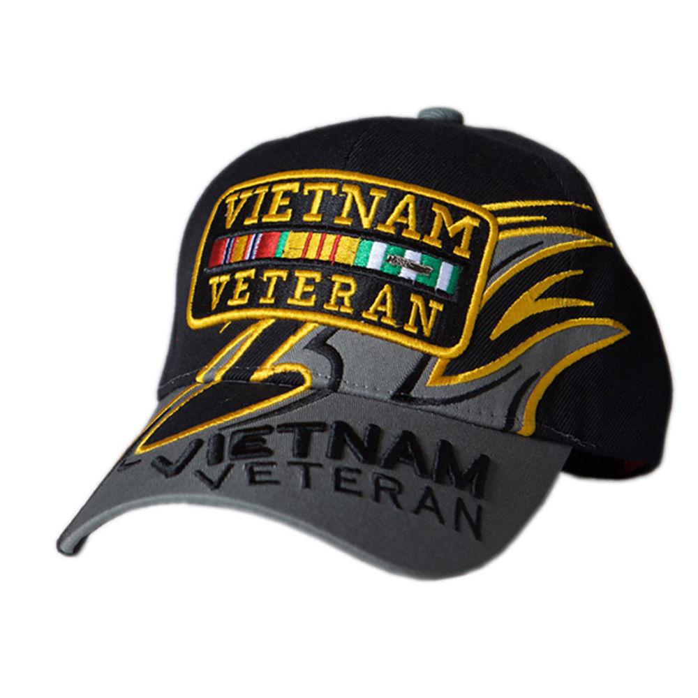 US Honor Embroidered Shark Fin Vietnam Veteran Bar Baseball Caps Hats