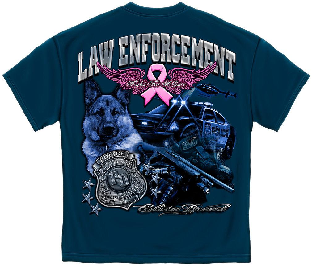 Elite Breed Police Law Enforcement Fight Breast Cancer Awareness Pink Ribbon