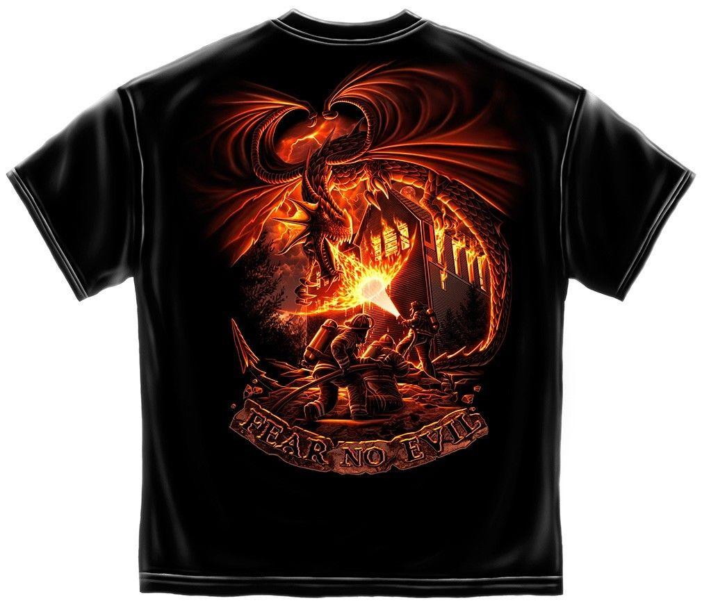 Erazor Bits T-Shirt - Fire Fighter - Dragon FireFighter - Fear No Evil - Black