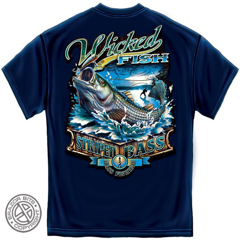 Erazor Bits T-Shirt - Wicked Fish - Striped Bass - Navy Blue