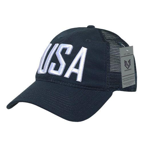 Rapid Dominance USA American Flag Text Ripstop 6 Panel Trucker Dad Caps Hats