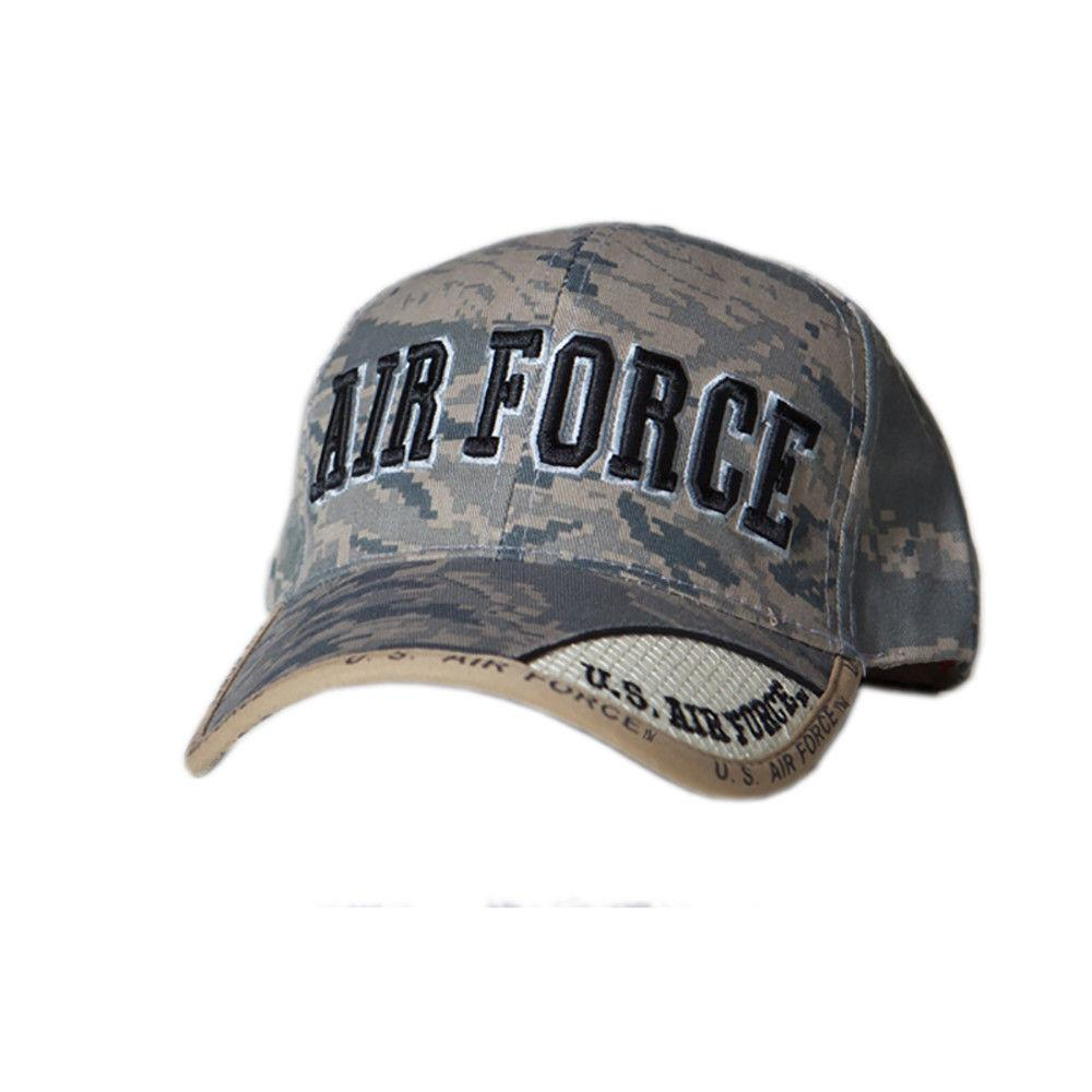 US Honor Embroidered Digital Pixel Camo Air Force Text Baseball Caps Hats