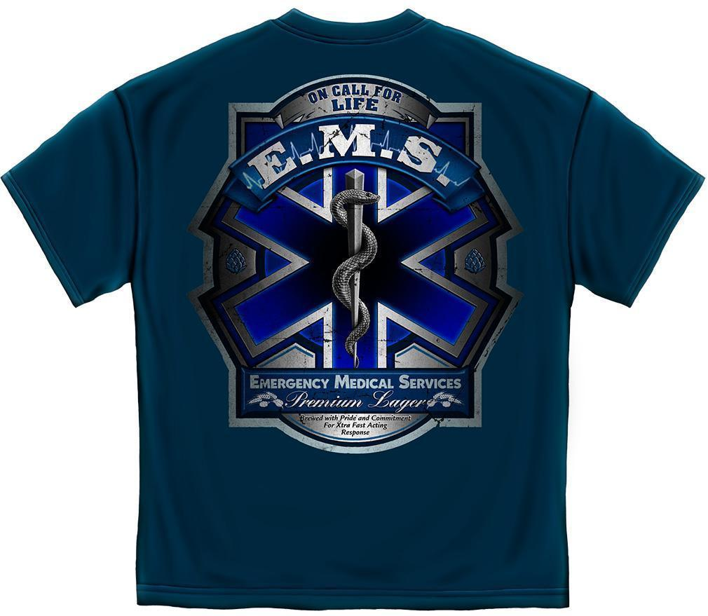 Erazor Bits T-Shirt - Emergency Medical Service  - On Call For Life EMS Beer Lab