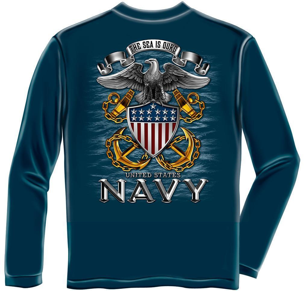 Erazor Bits Long Sleeve T-Shirt - United States Navy -The Sea is Ours - Navy