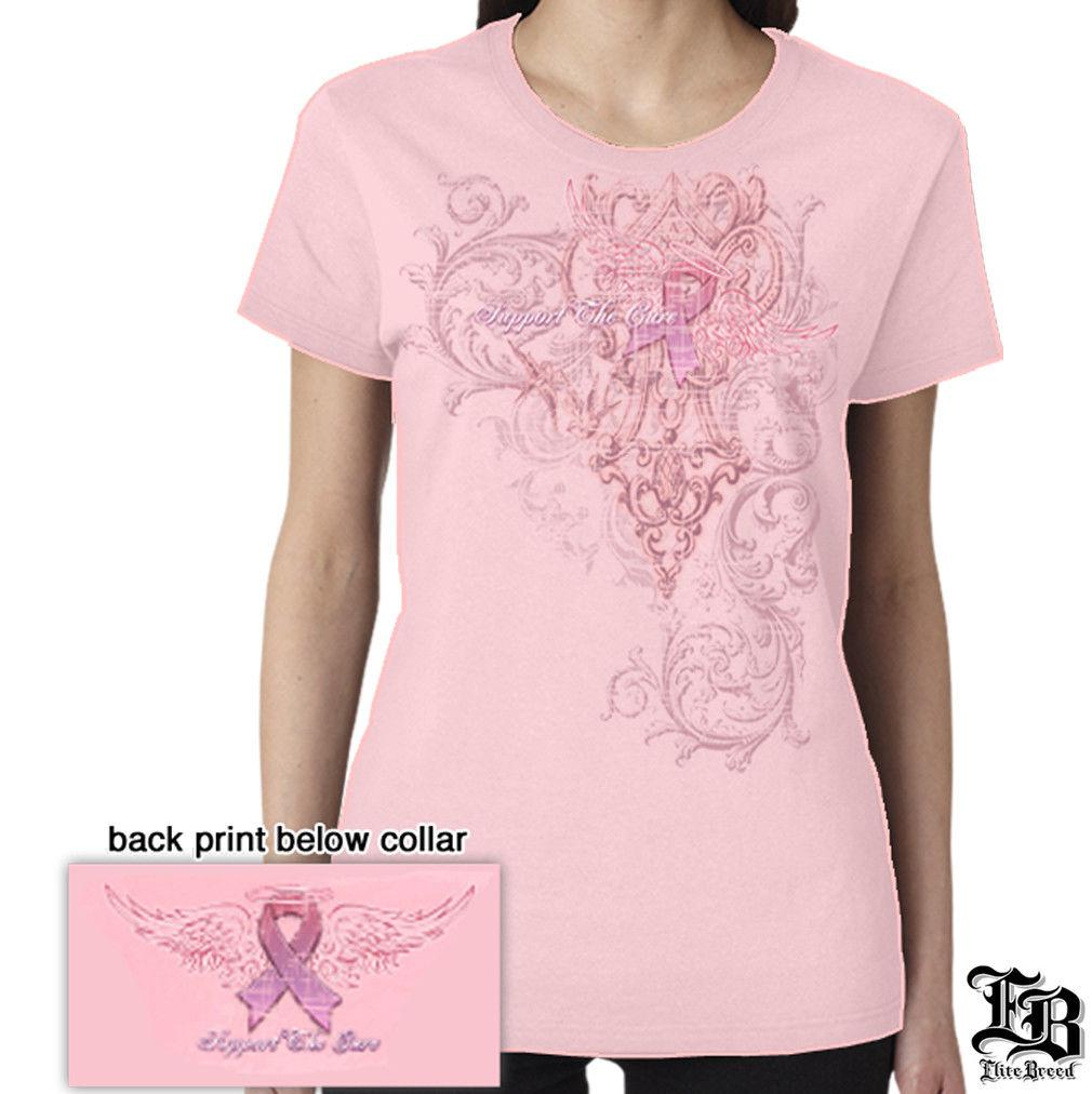 Support The Cure Breast Cancer Awareness Fire Angel Pink Ribbon T-Shirt Womens
