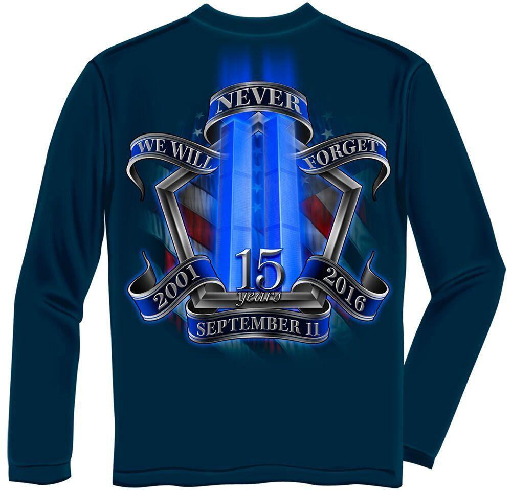 Patriotic 9/11 September 11 Tribute 15 Year Anniversary Navy Long Sleeve T Shirt