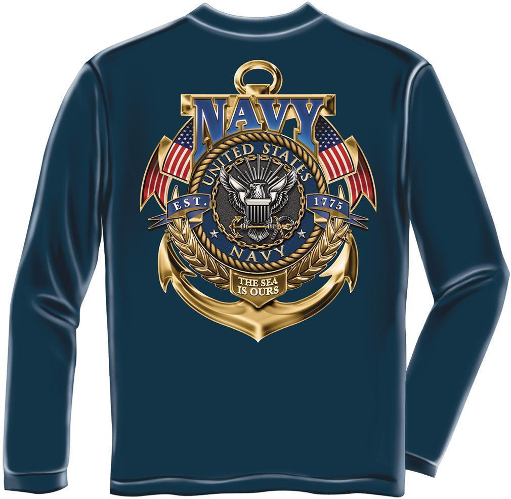 Erazor Bits Long Sleeve T-Shirt - United States Navy - Sea Is Ours - 1775 - Navy