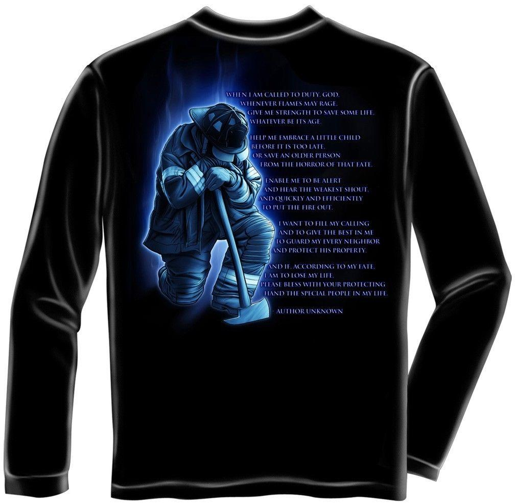 Erazor Bits Long Sleeve T-Shirt - Fire Fighter - Firefighter Fireman's Prayer -