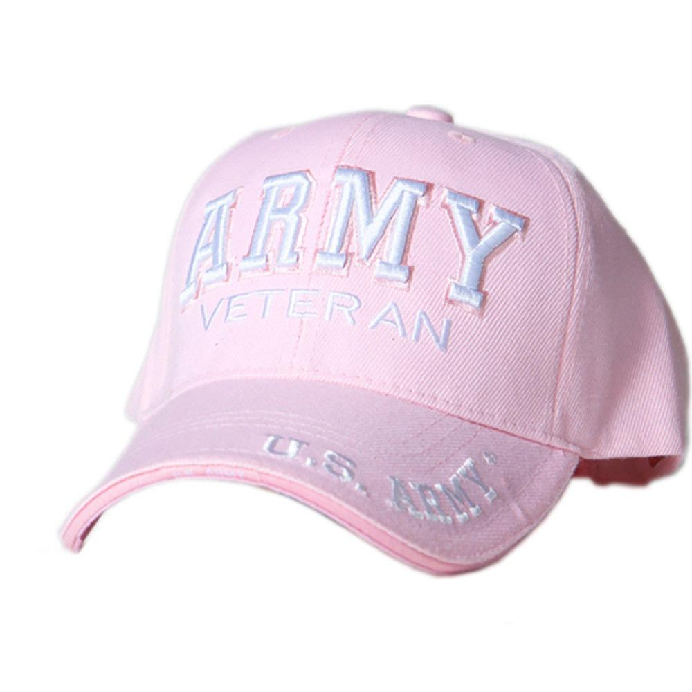 US Honor Embroidered Army Veteran Pink Baseball Caps Hats
