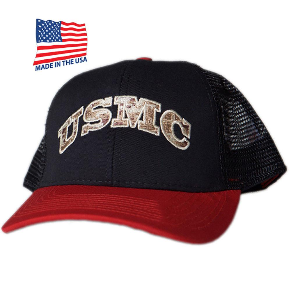 Made in USA US Honor Embroidered USMC Marines American Trucker Baseball Caps Hat