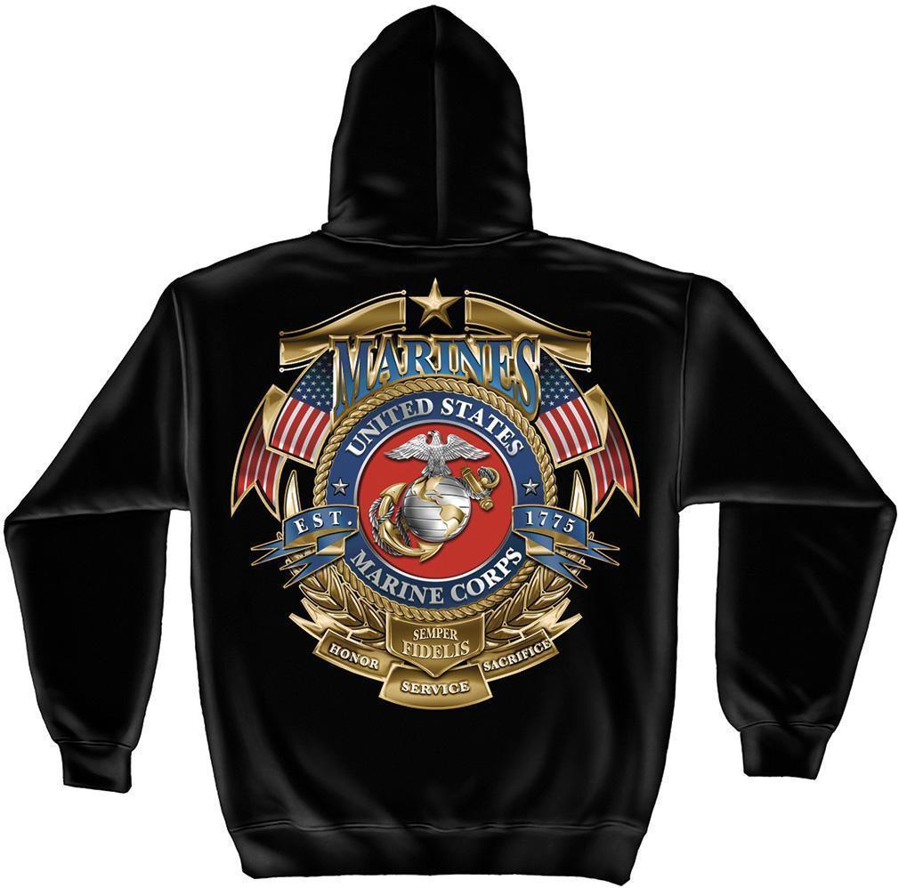 Erazor Bits Sweatshirt Hoodie USMC Logo Marines Badge of Honor Semper Fidelis Am