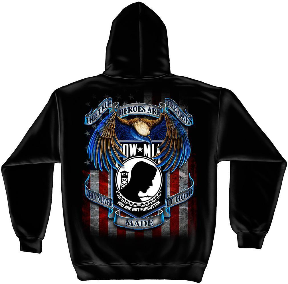 Erazor Bits Sweatshirt Hoodie True Heroes POW MIA You Are Not Forgotten American