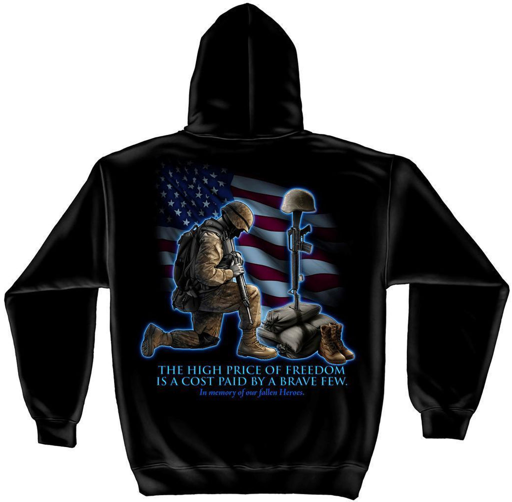 Erazor Bits Sweatshirt Hoodie Soldiers Kneeling Cross In Memory of Fallen Heroes