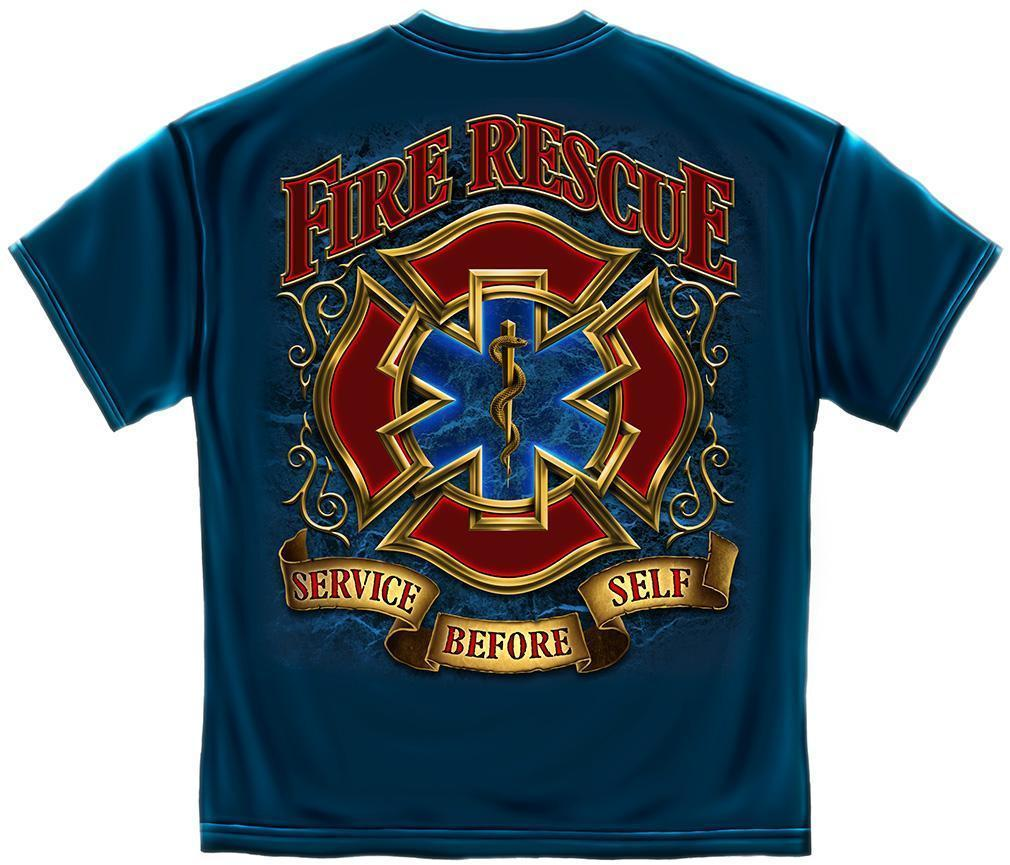 Erazor Bits T-Shirt- Fire Fighter - Fire Rescue Firefighter - Gold Shield - Navy