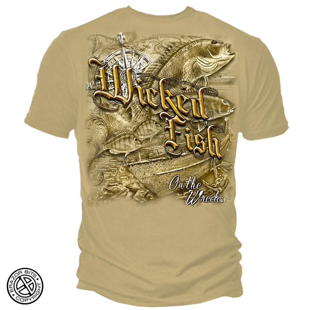 Erazor Bits T-Shirt - Wicked Fish - On The Wrecks - Old Gold