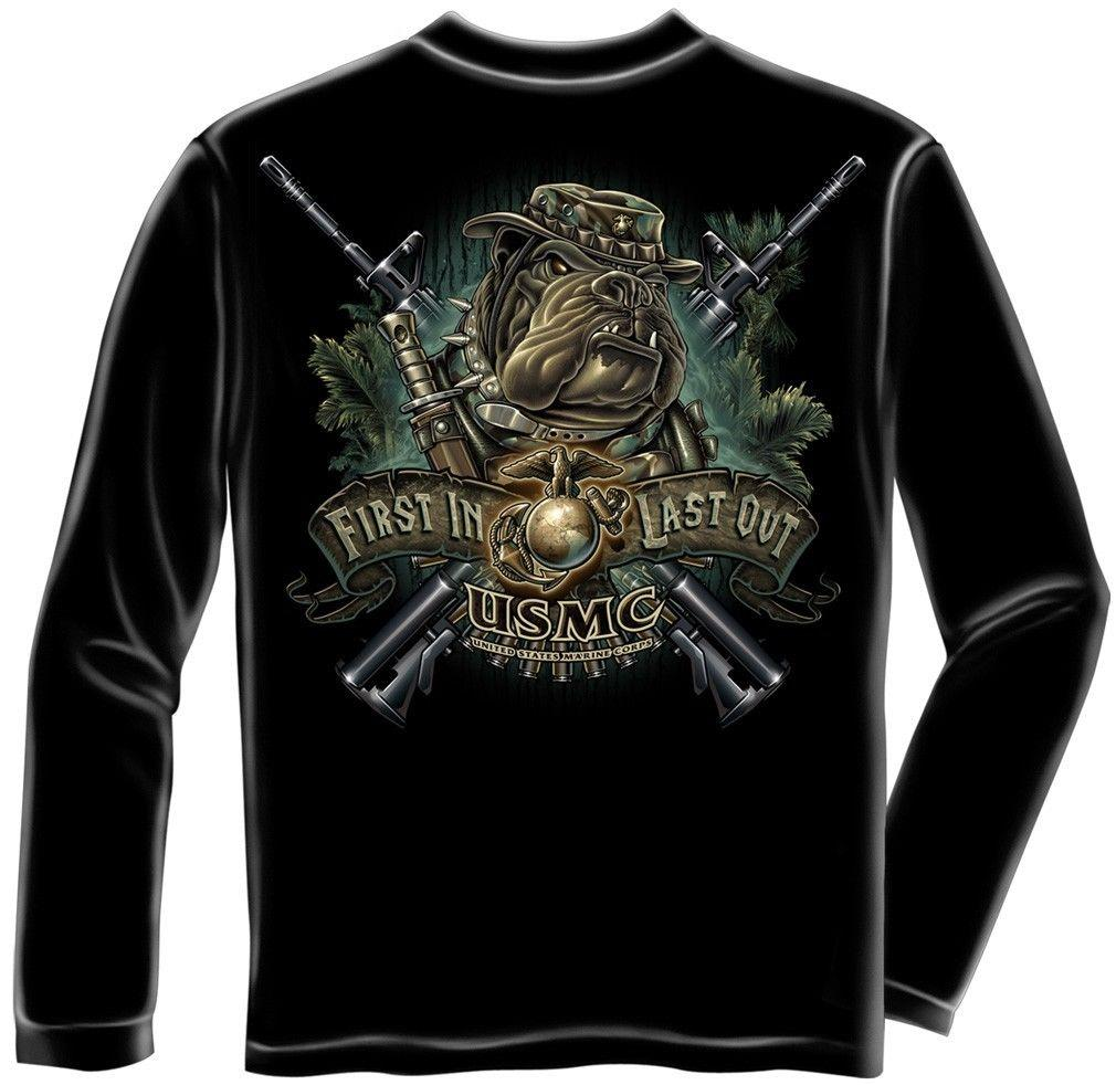 Erazor Bits Long Sleeve T-Shirt USMC Marines Corp Devil Dog First In Last Out -