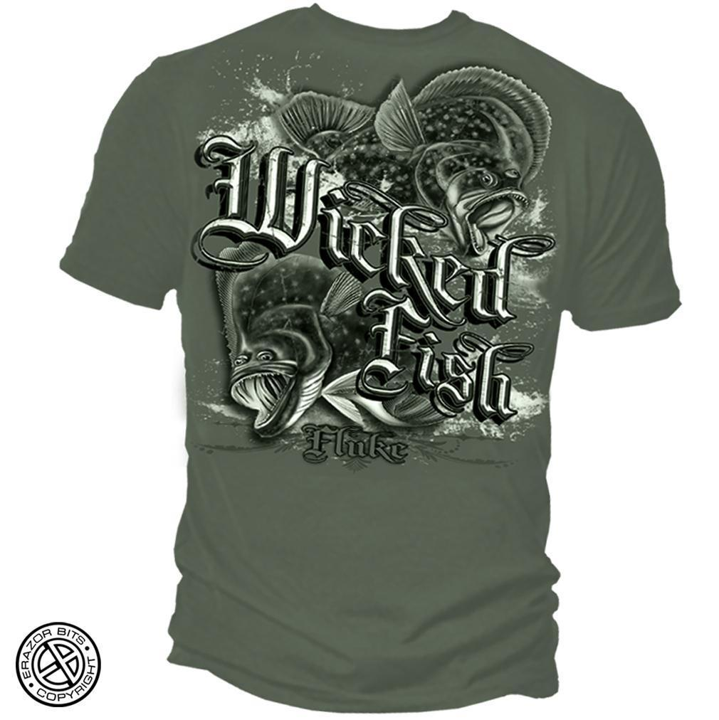 Erazor Bits T-Shirt - Wicked Fish - Wicked Fluke - Green