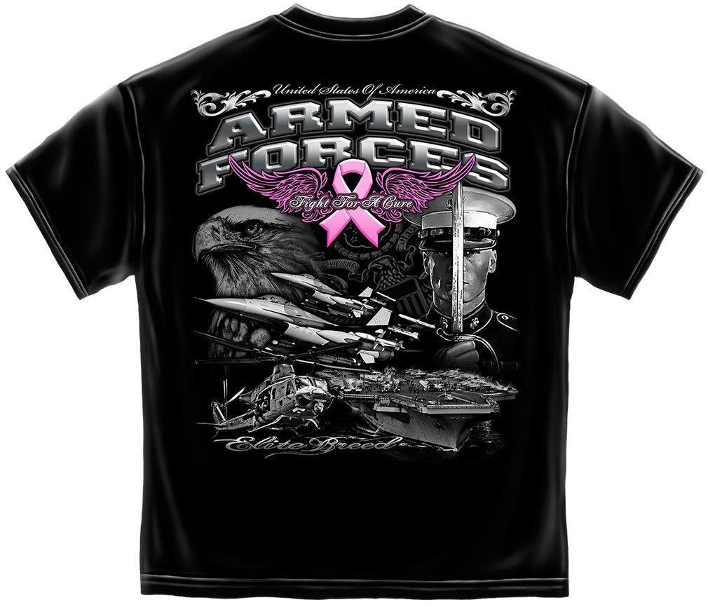 Elite Breed US Armed Forces Fight Breast Cancer Awareness Pink Ribbon T-Shirt