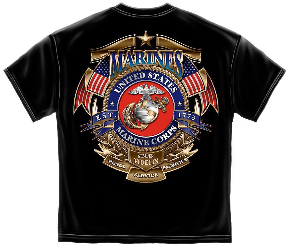 Erazor Bits T-Shirt USMC Marines Logo Badge of Honor American Flag Semper Fi