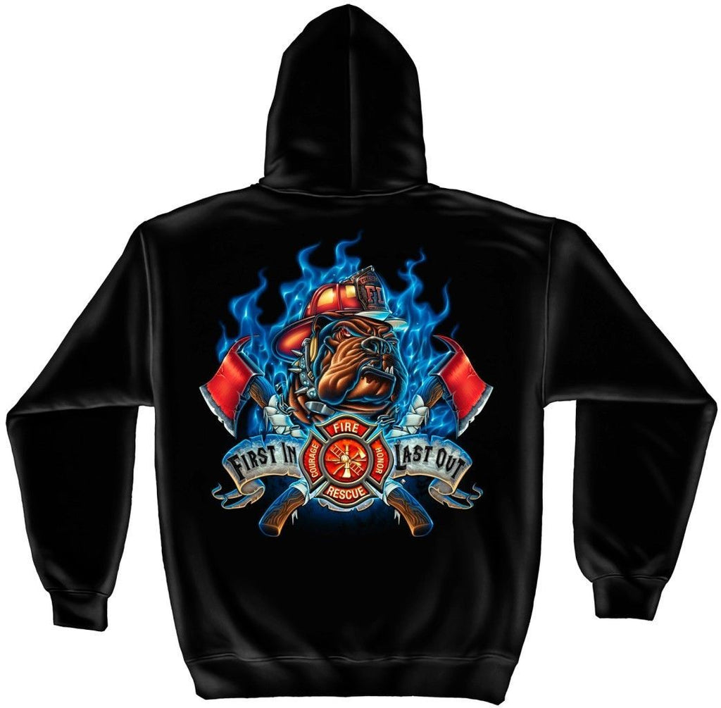 Erazor Bits Sweatshirt Hoodie- FireFighter - Fire Fighter First in Last out - Bl
