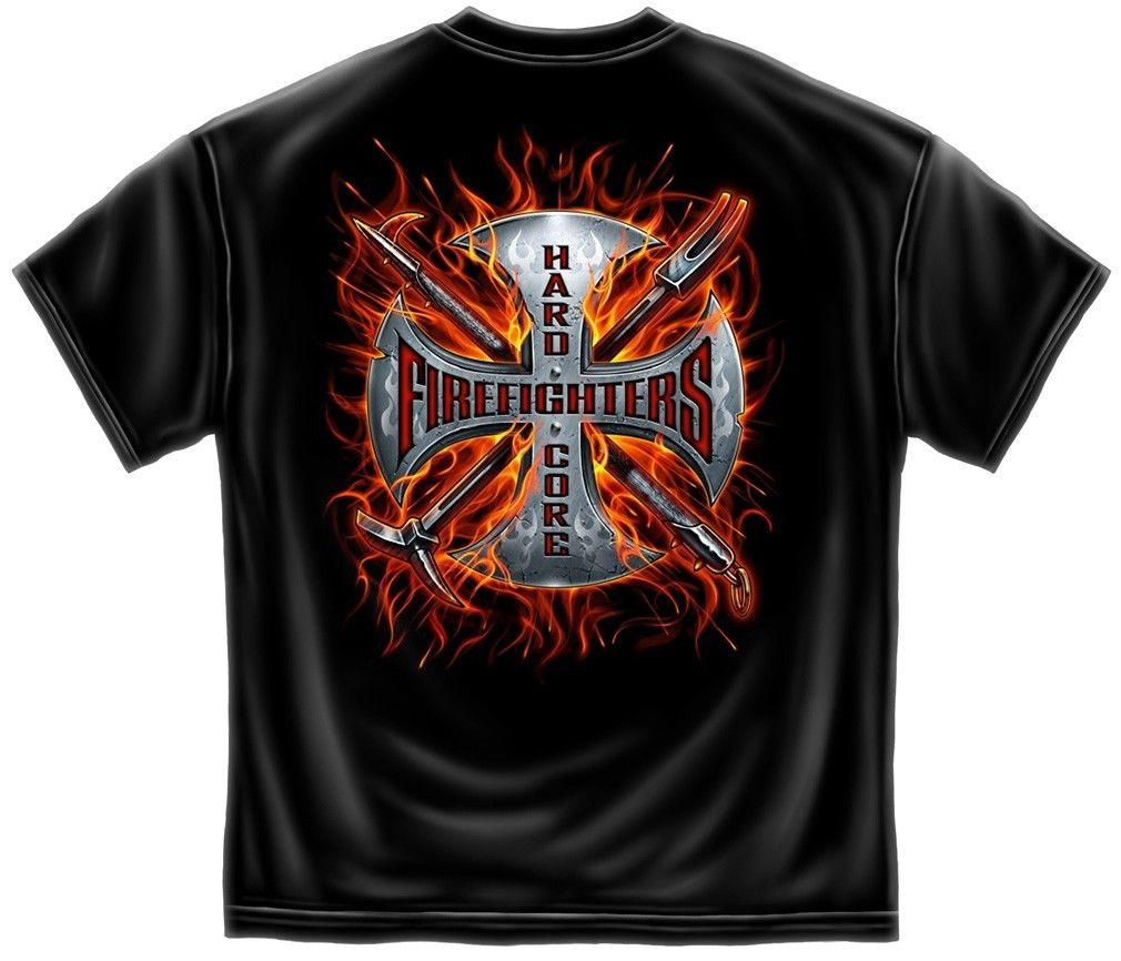 Erazor Bits T-Shirt - Fire Fighter - Hard Core Firefighter-  Black